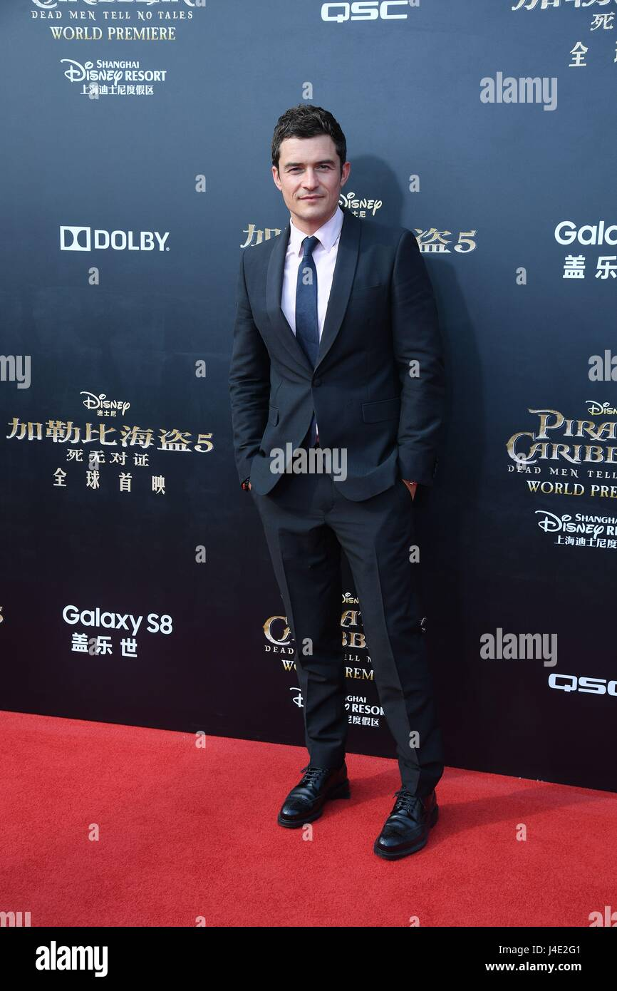 Shanghai, China. 11th May, 2017. Johnny Depp and Orlando Bloom attend the premiere of Pirates of the Caribbean: - Stock Image