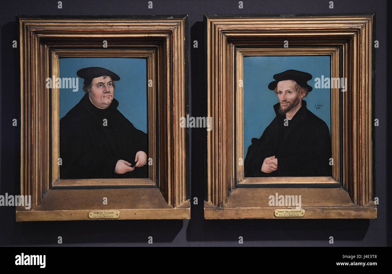 Portraits of Martin Luther (L) and Philipp Melanchthon, by the painter Lucas Cranach the Elder, can be seen at the - Stock Image
