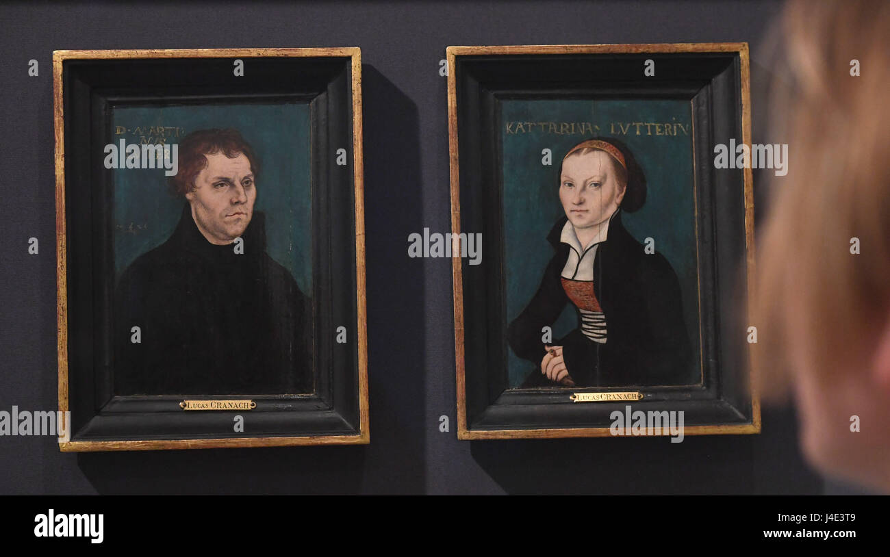 Portraits of Martin Luther (L) and Katharina von Bora, by the painter Lucas Cranach the Elder can be seen at the - Stock Image