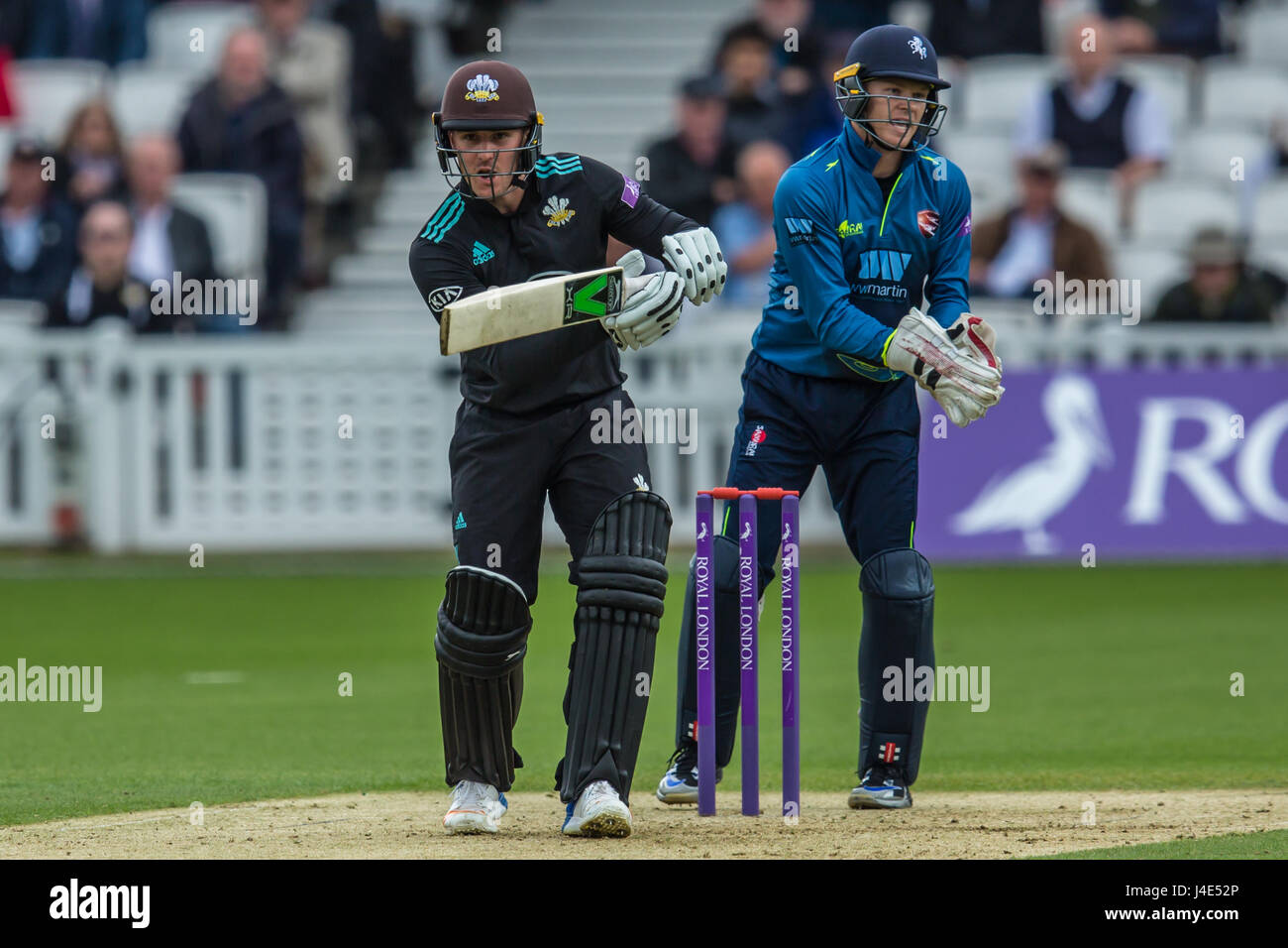 London, UK. 12th May, 2017.  Jason Roy batting for Surrey. Surrey v Kent in the Royal London One-Day Cup at the Stock Photo