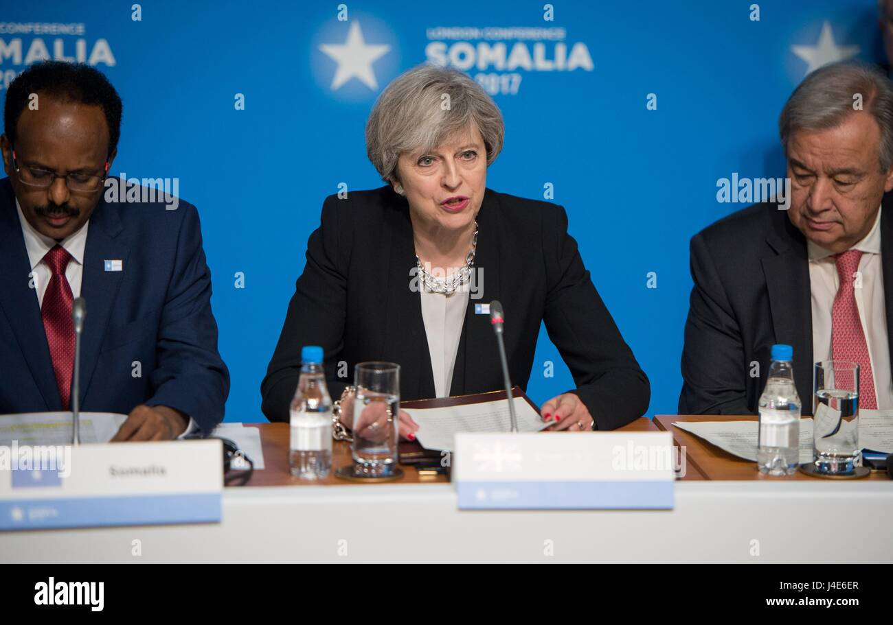 British Prime Minister Theresa May addresses delegates during the opening of the London Somalia Conference at the - Stock Image