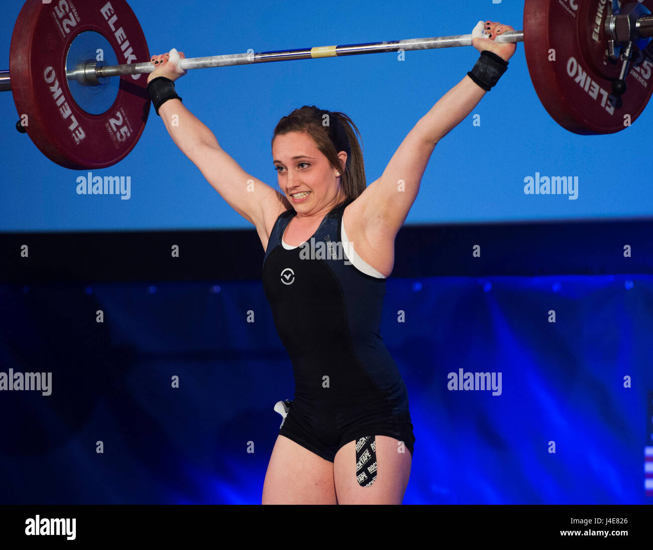 May 12, 2017:  Megan Seegert competes in the Womens 48kg. class at the USA Weightlifting National Championships - Stock Image