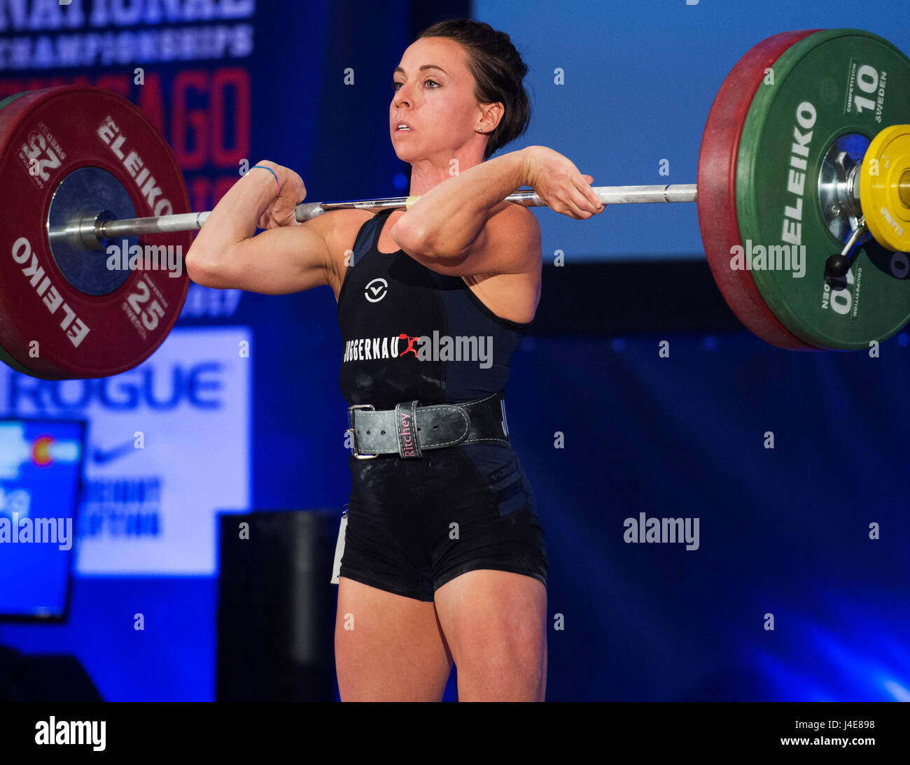 May 12, 2017: Alyssa Ritchey competes in the Womens 48kg. class at the USA Weightlifting National Championships - Stock Image