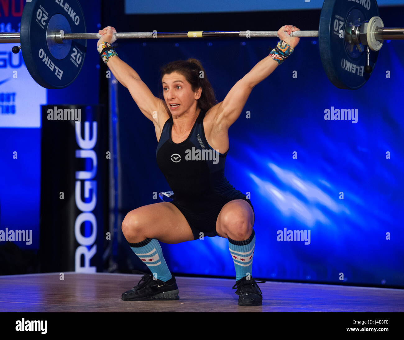 May 12, 2017: Gina Giannetti competes in the Womens 48kg. class at the USA Weightlifting National Championships - Stock Image