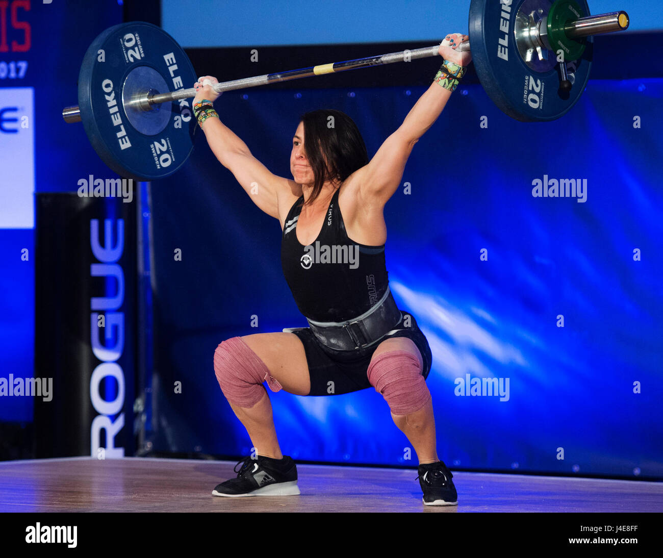May 12, 2017: Meghan Valentine competes in the Womens 48kg. class at the USA Weightlifting National Championships - Stock Image