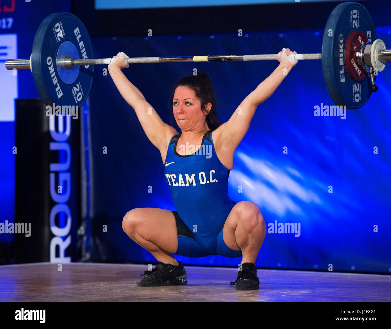 May 12, 2017: Brittany Witt competes in the Womens 48kg. class at the USA Weightlifting National Championships in - Stock Image