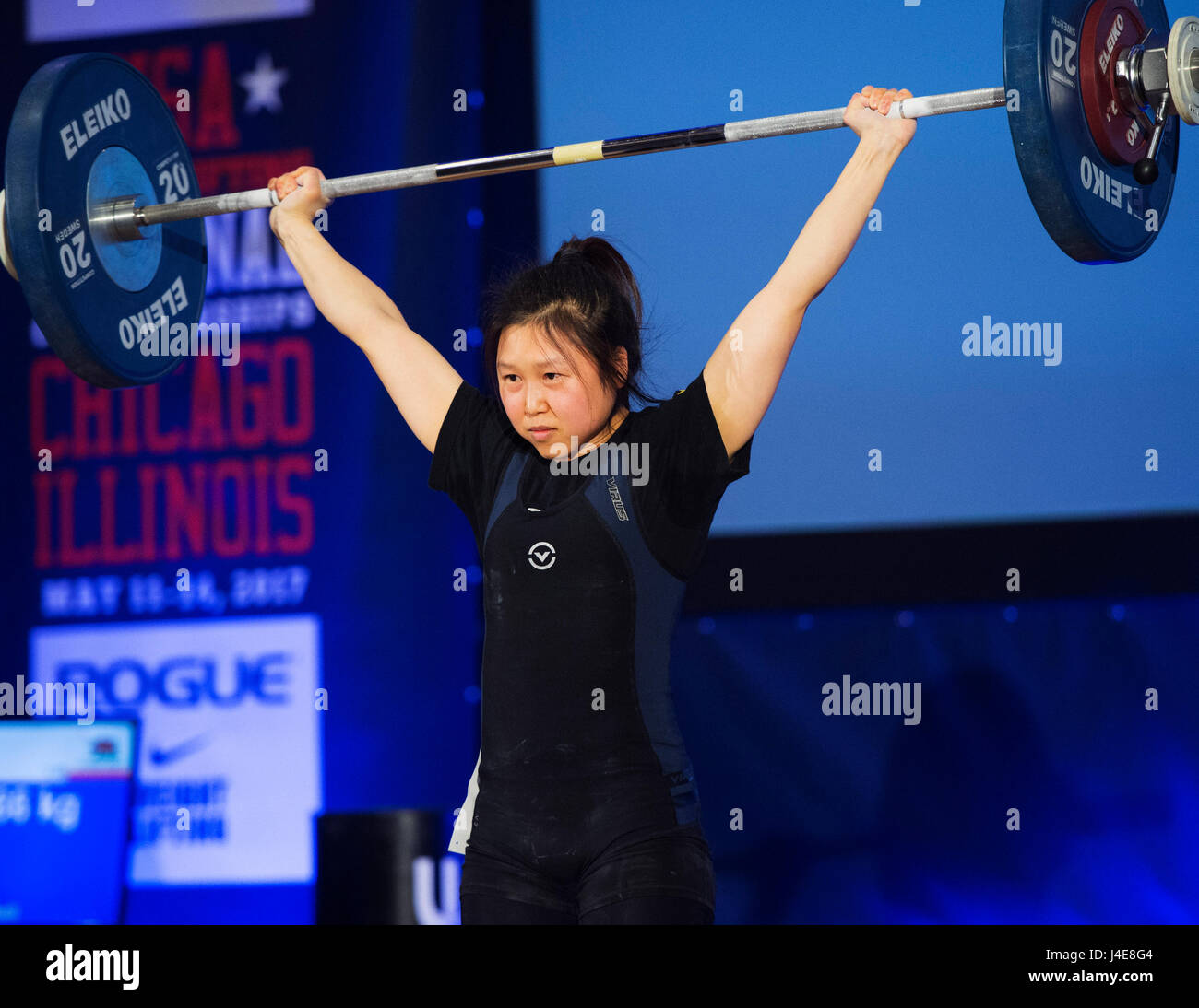 May 12, 2017: Jennifer Won competes in the Womens 48kg. class at the USA Weightlifting National Championships in - Stock Image