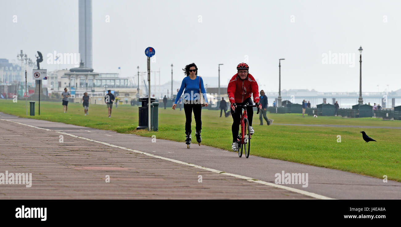 Brighton, UK. 13th May, 2017. Cyclists and roller bladers travel along Brighton and Hove seafront on a dull overcast - Stock Image