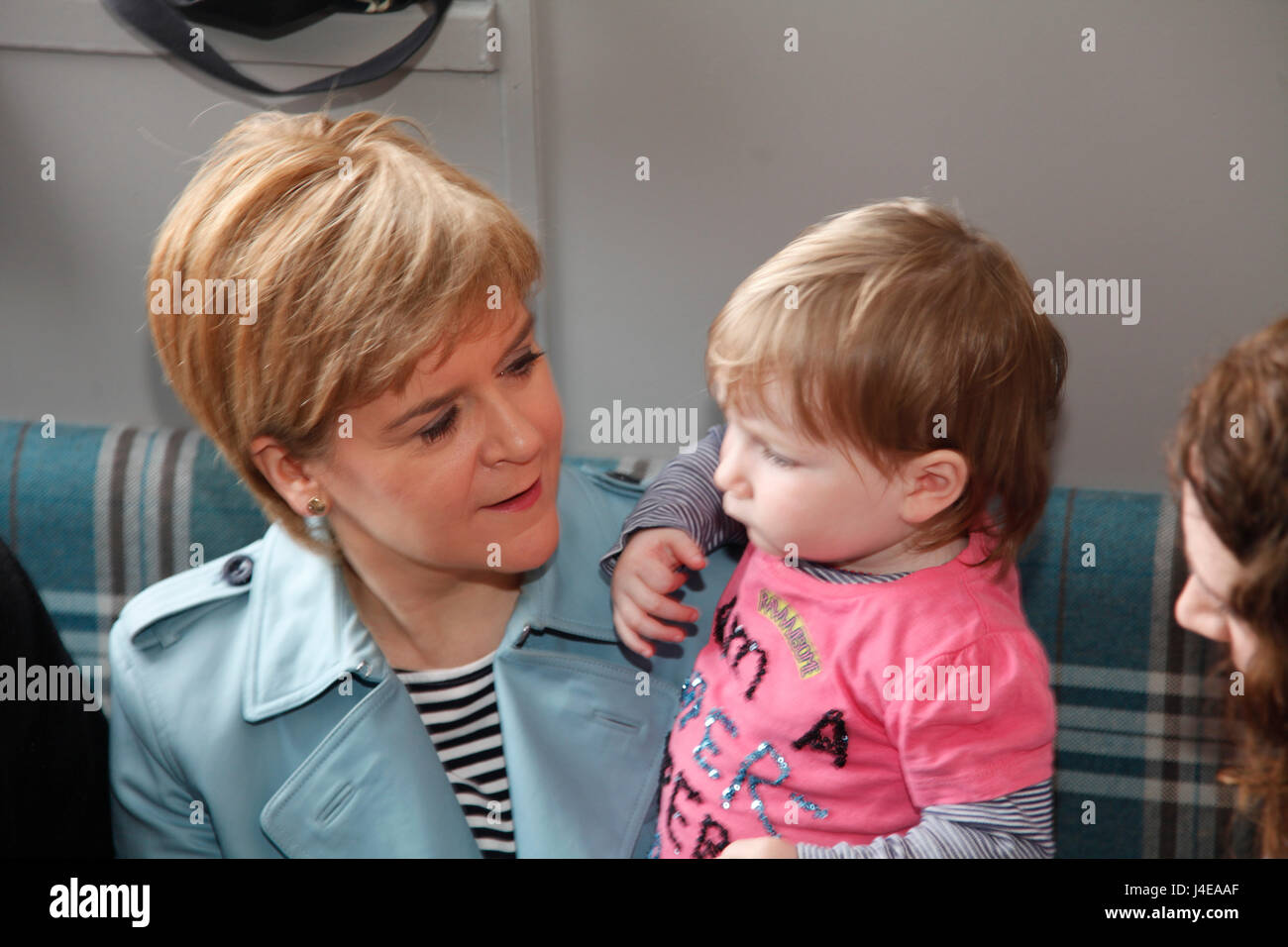 Patrick Glasgow 13 May 2017. First Minister Nicola Sturgeon campaigning in Patrick Glasgow. Credit: ALAN OLIVER/Alamy - Stock Image