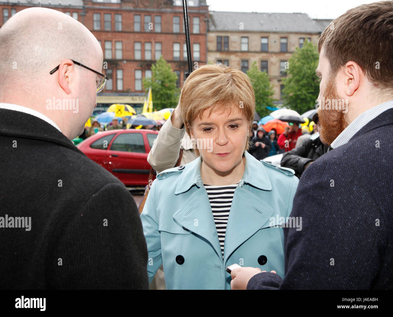 Patrick Glasgow 13 May 2017. First Minister Nicola Sturgeon campaigning in Partick Glasgow with Glasgow North Candidate - Stock Image