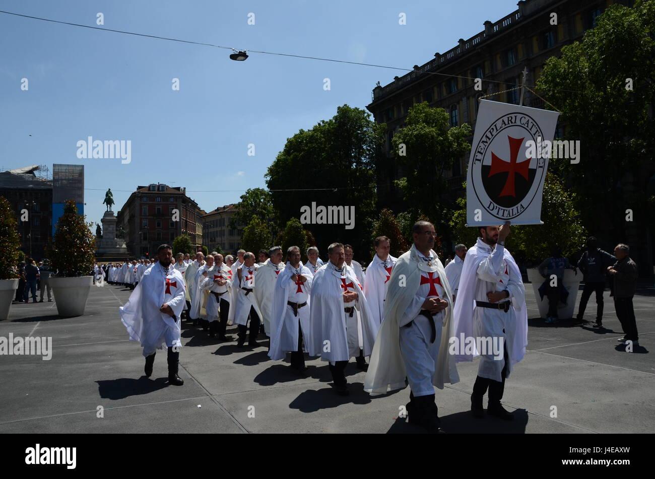 Milan, Italy - May 13th, 2017: Knight Templar (Cavalieri Templari) parade in front of Castello Sforzesco in the Stock Photo
