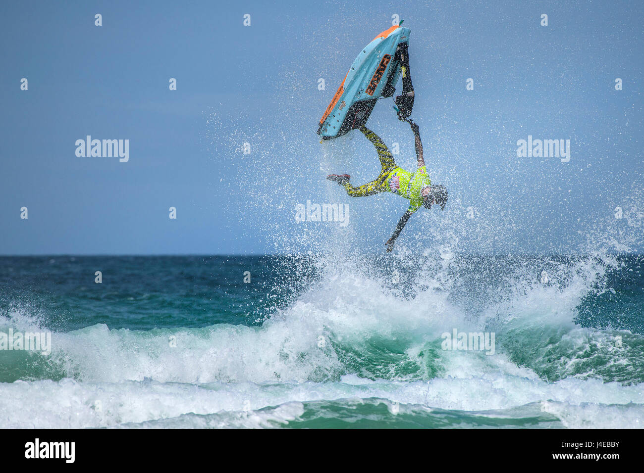 Fistral Beach; Newquay, Cornwall. 13th May, 2017. British jetski star Dan Foy performs an stunningt gravity defying - Stock Image