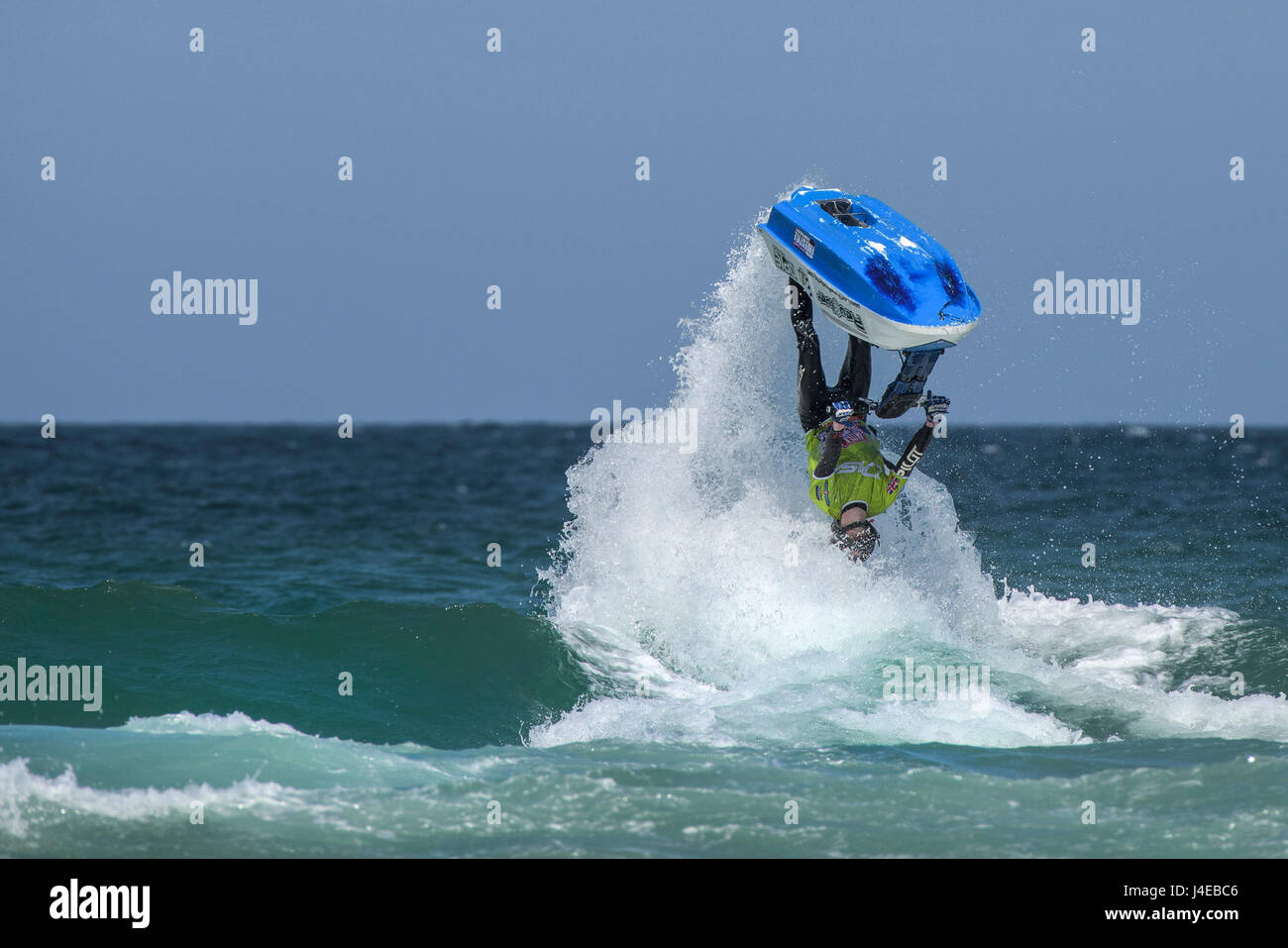 Fistral Beach; Newquay, Cornwall. 13th May, 2017. Defying gravity jetski riders from all over the world compete - Stock Image