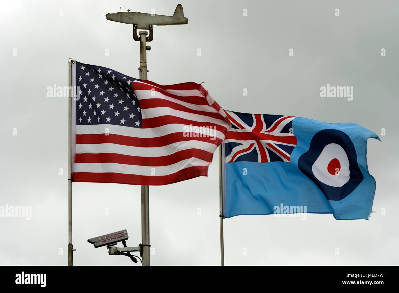 USA and RAF flags at Sywell Aerodrome museum, Northamptonshire, England, UK - Stock Image