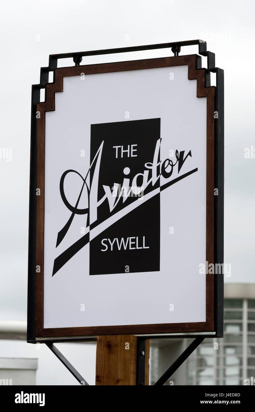 The Aviator hotel sign, Sywell Aerodrome, Northamptonshire, England, UK - Stock Image