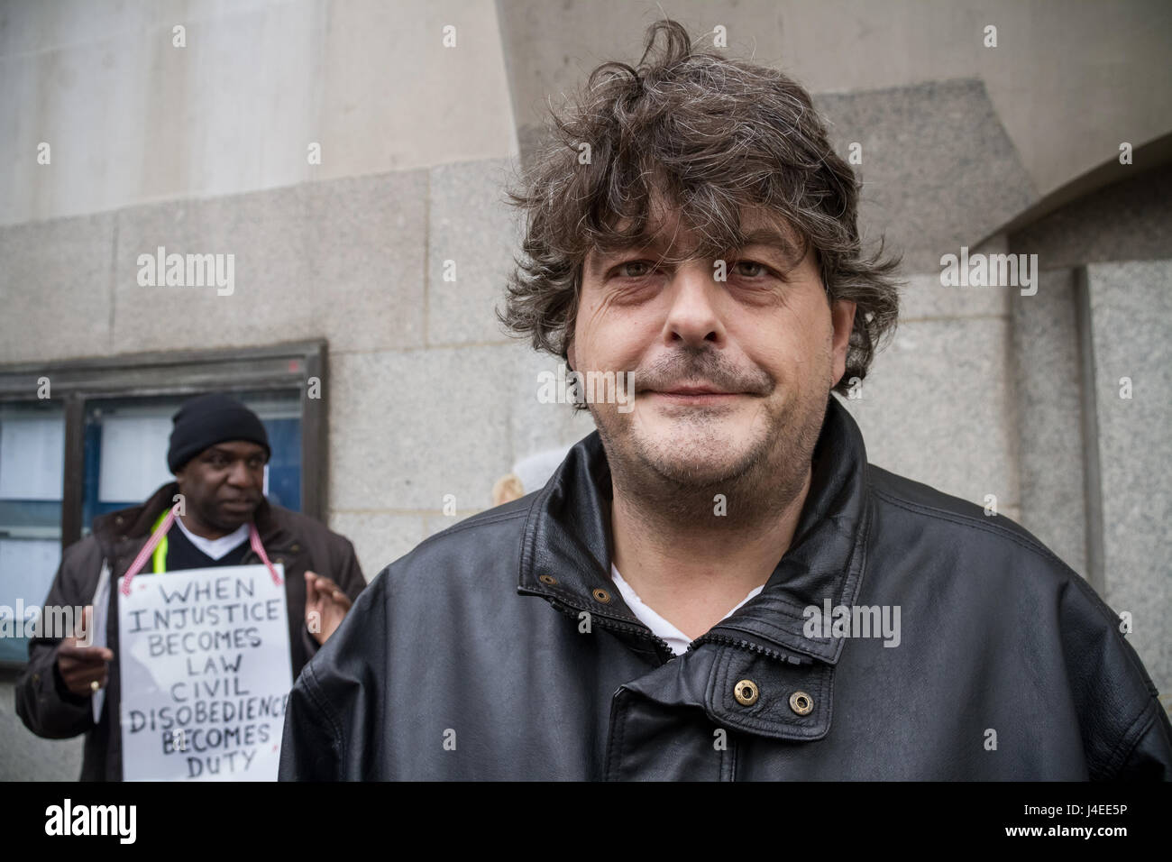 David Shayler former MI5 security service officer outside Old Bailey court in London, UK. - Stock Image