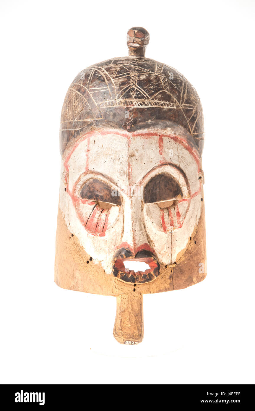 African wooden mask isolated on white background - Stock Image