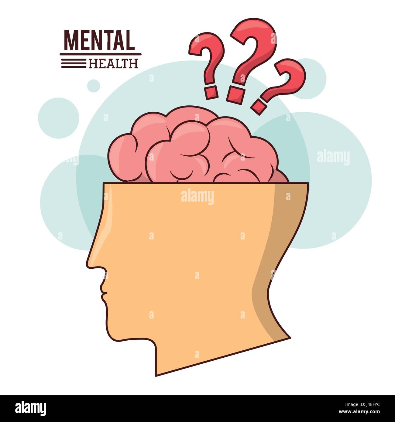 mental health, human head brain with question mark symbol - Stock Image