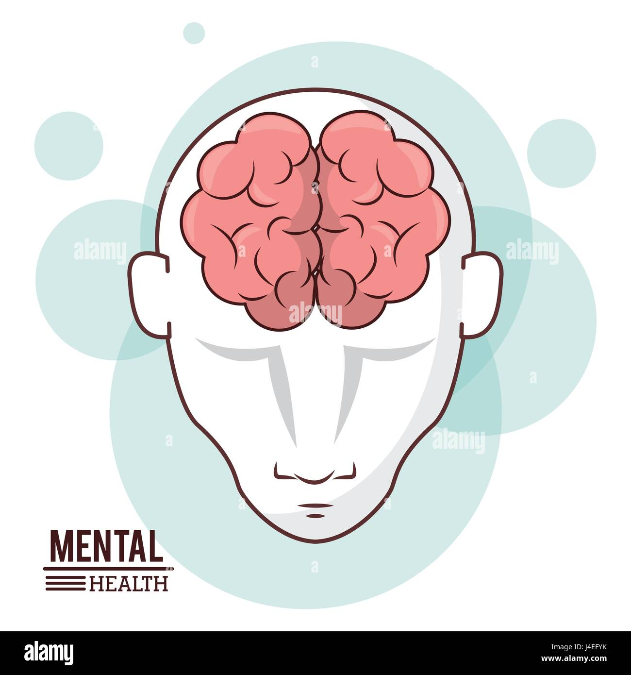 mental health, human head brain front intelligence design - Stock Image