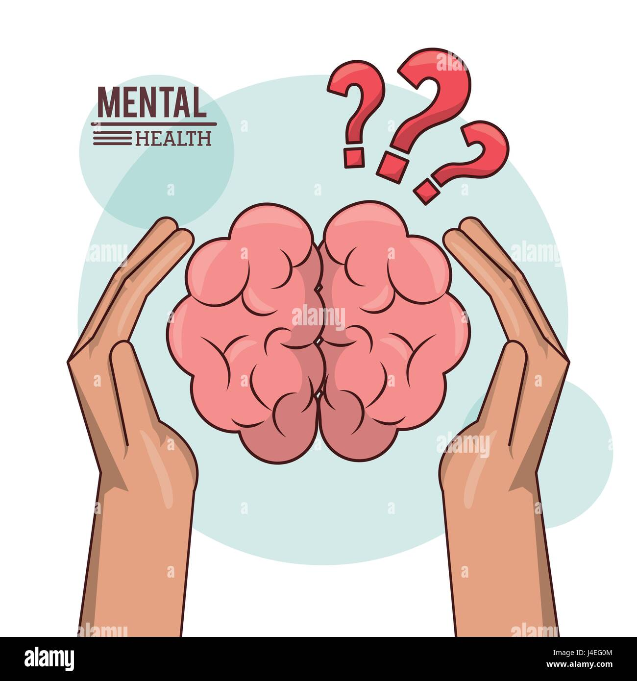 mental health, hand holding brain human with exclamation mark knowledge - Stock Image