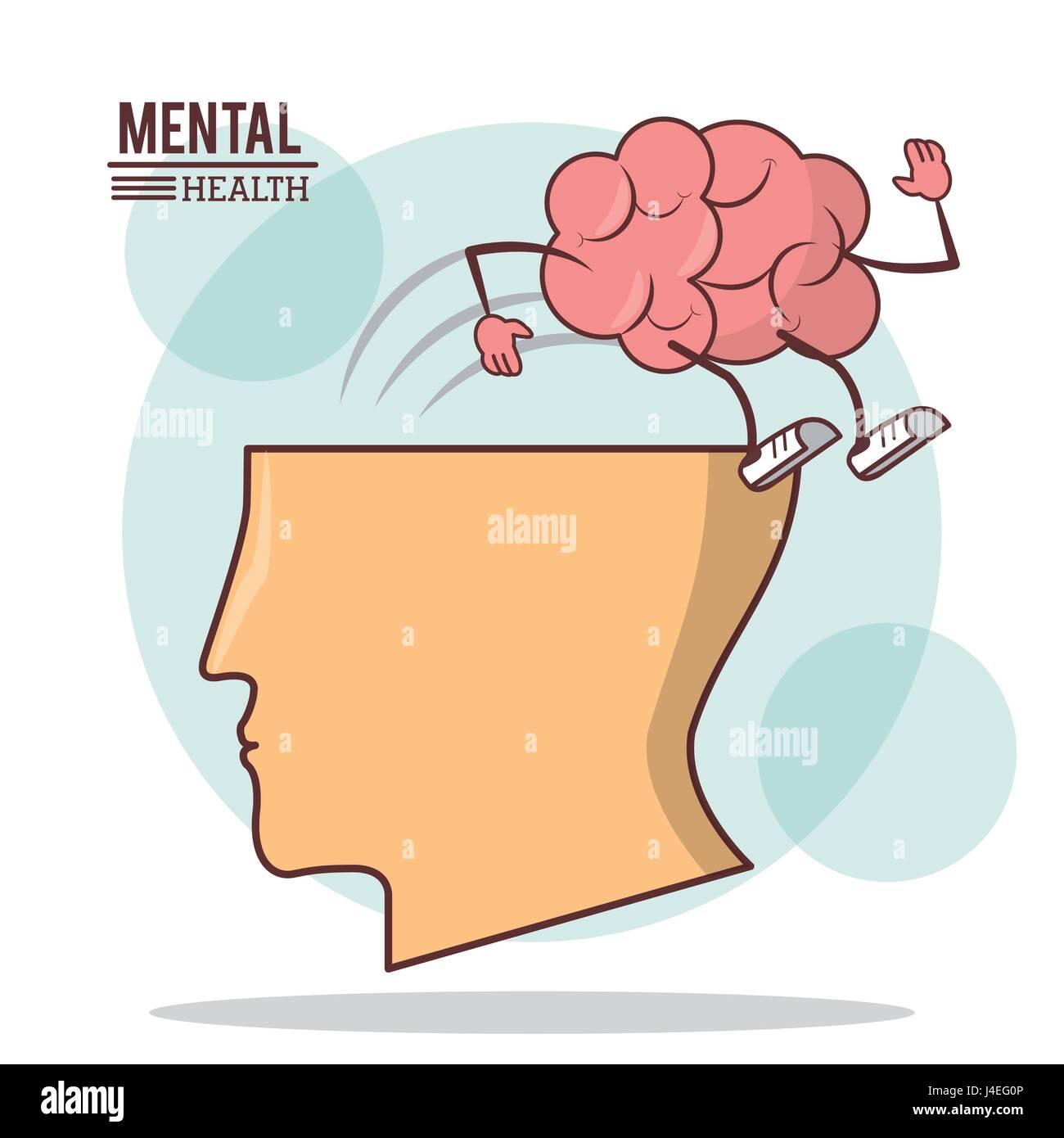 human head brain, mental health with brain activity care - Stock Image