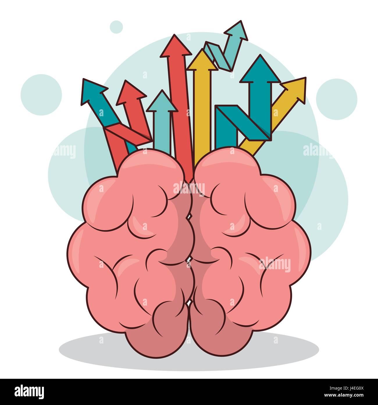 human brain arrows creativity business growth concept - Stock Vector