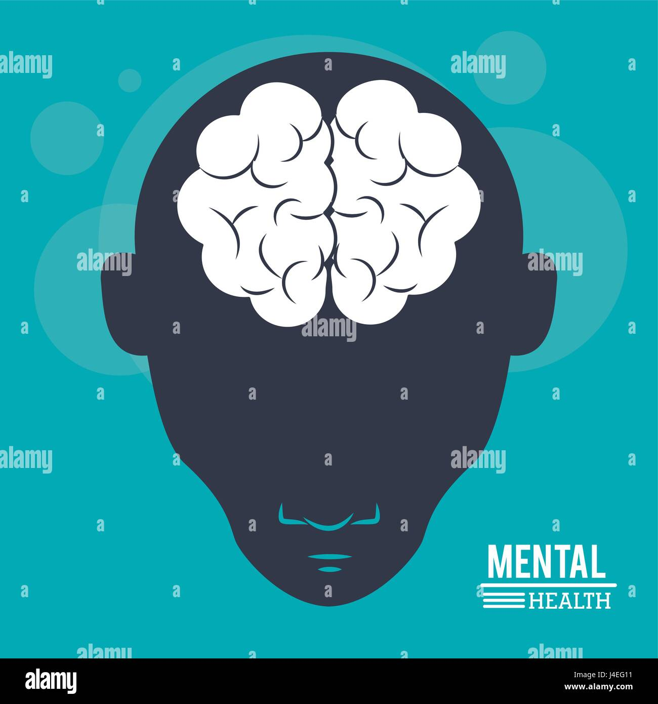 mental health, head human, silhouette face and brain in flat style - Stock Image