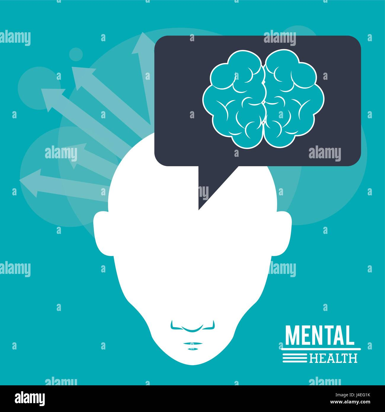 mental health, human head with brain arrows thinking image - Stock Vector