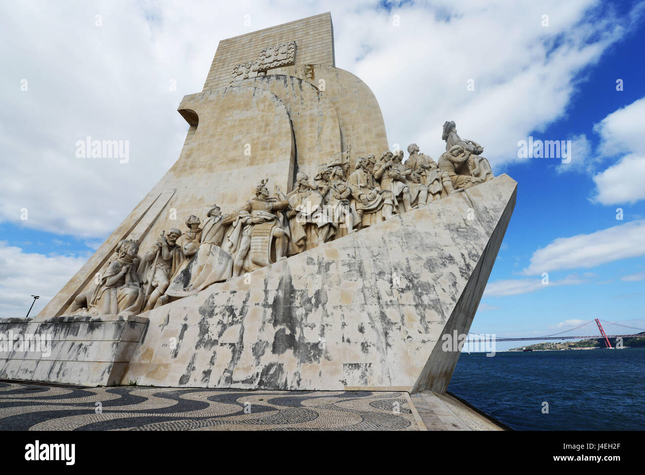 Monument to the Discoveries beside the Tagus River, Belem, Lisbon, Portugal. - Stock Image