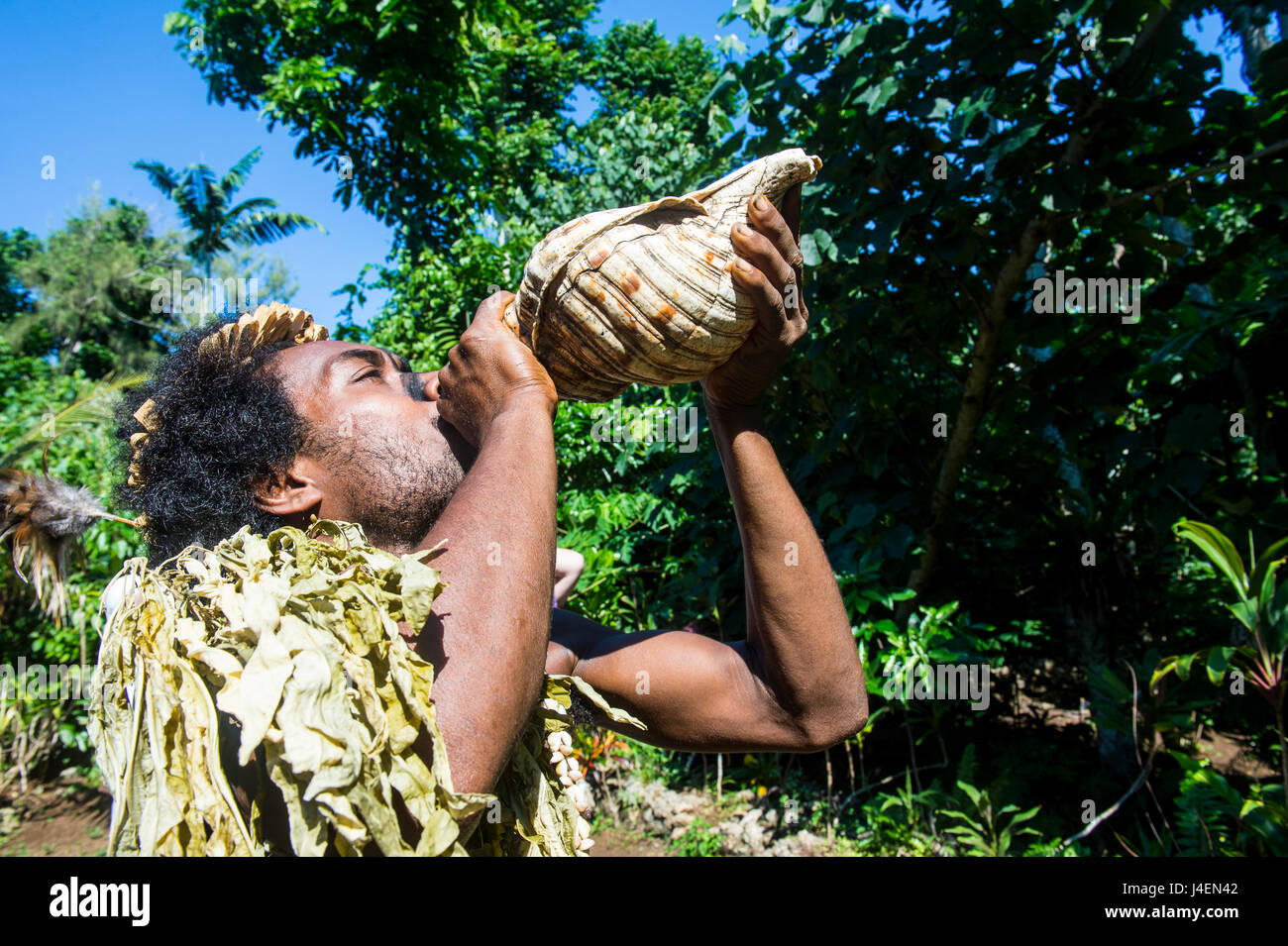Man blowing in a giant shell, Ekasup Cultural Village, Efate, Vanuatu, Pacific - Stock Image