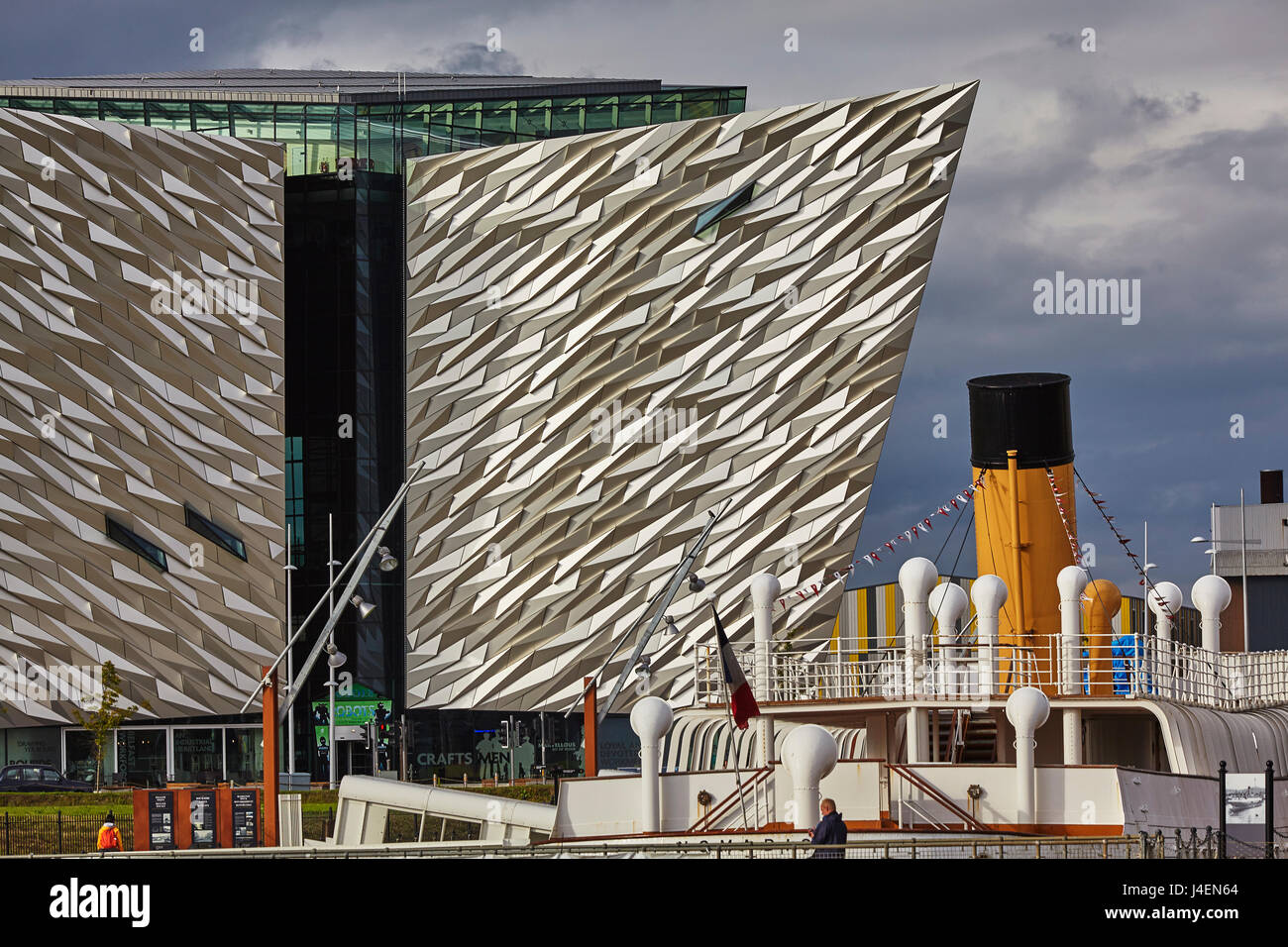 A view of the Titanic Museum, with the SS Nomadic, Belfast, Northern Ireland, UK Stock Photo