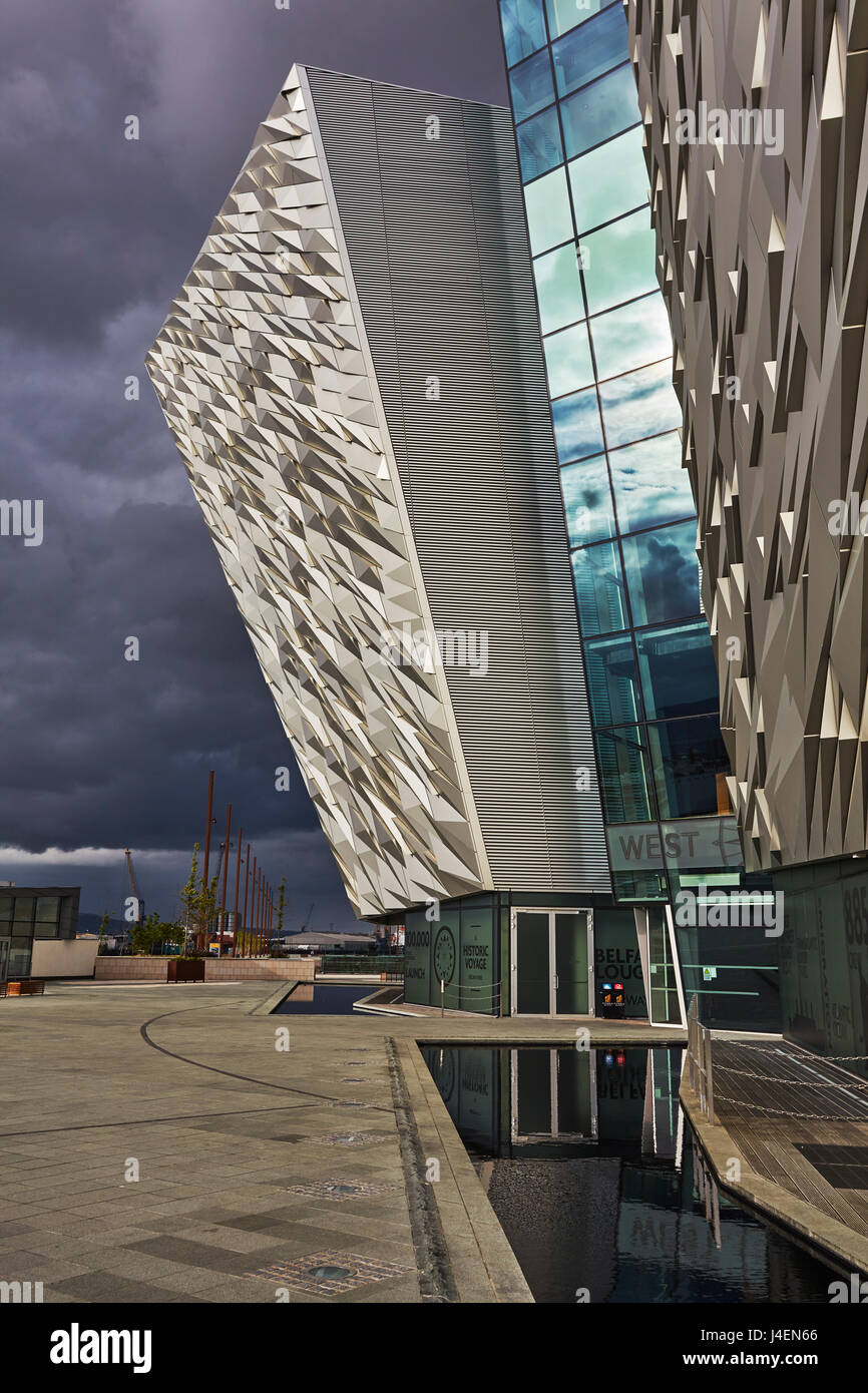 A view of the Titanic Museum, in the Titanic Quarter, Belfast, Ulster, Northern Ireland, United Kingdom, Europe - Stock Image