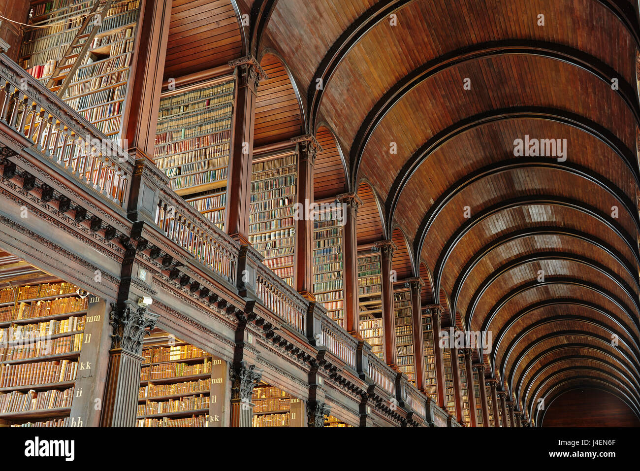 The Long Room in the library of Trinity College, Dublin, Republic of Ireland, Europe - Stock Image