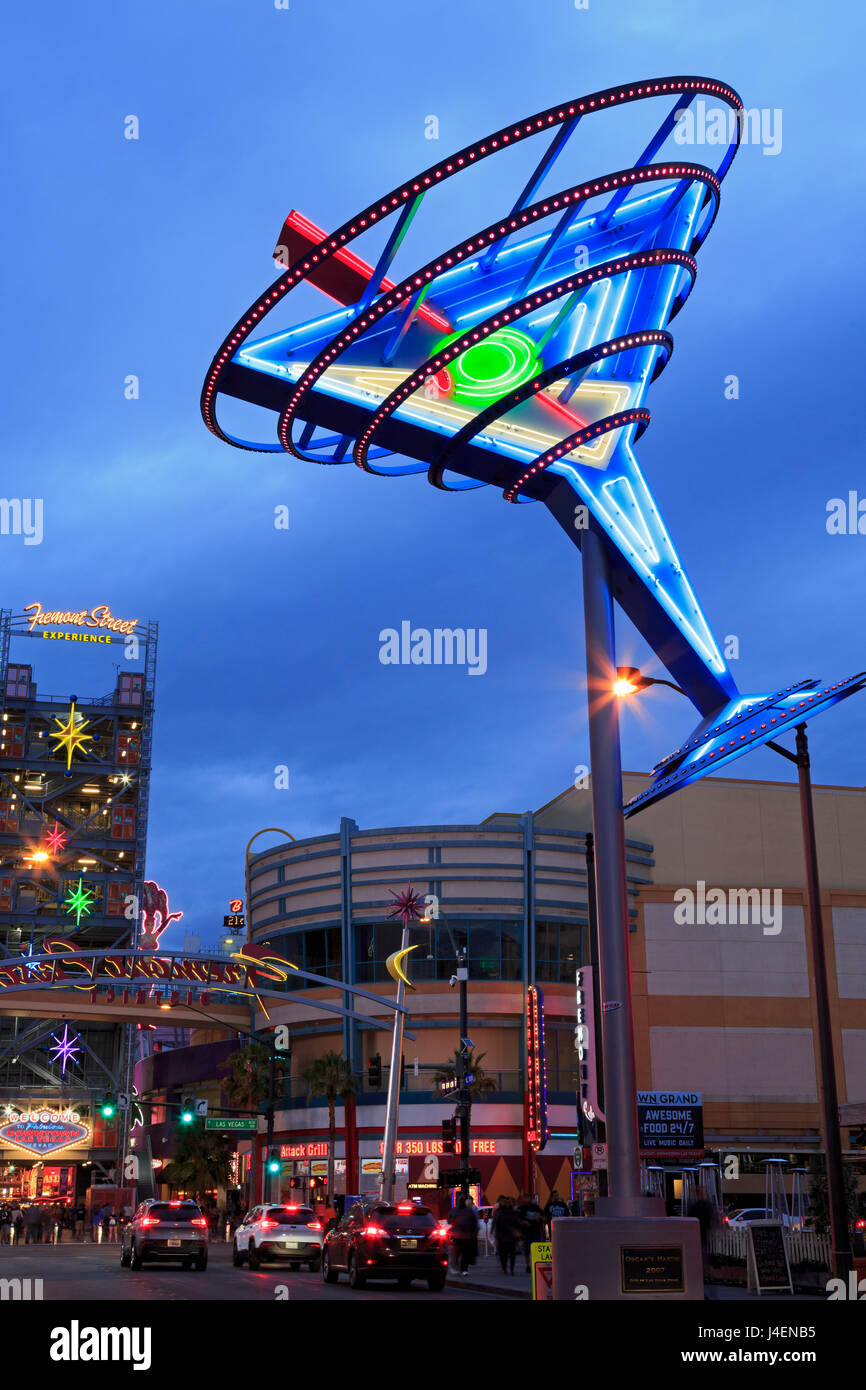 Fremont East District, Las Vegas, Nevada, United States of America, North America - Stock Image