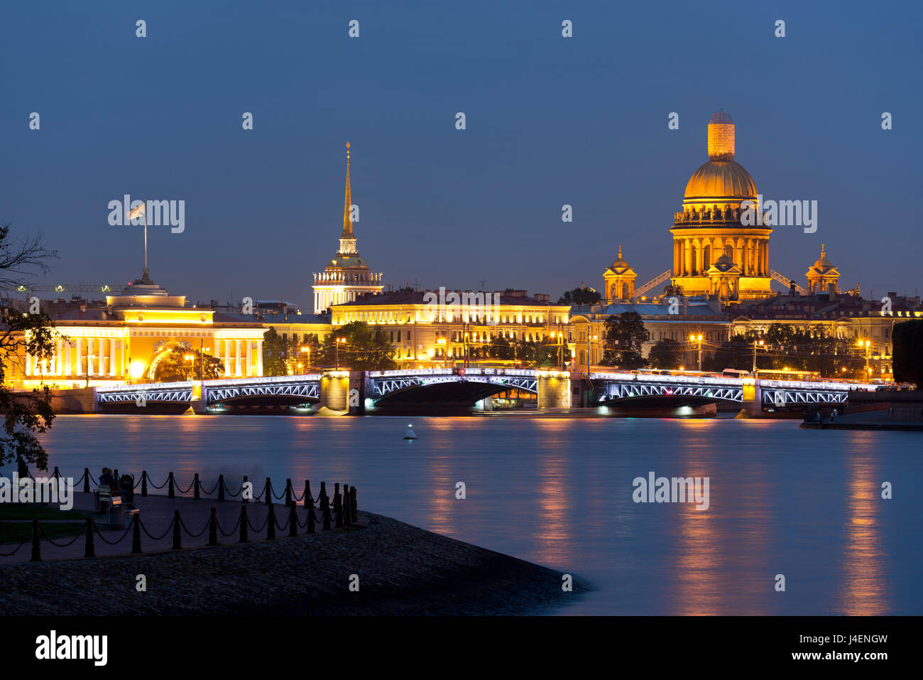 View of the Historic Heart along the Neva River, St. Petersburg, Russia, Europe - Stock Image
