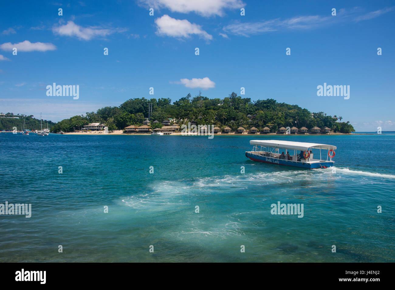 Transfer to the exclusive Iririki Island, Efate, Vanuatu, Pacific - Stock Image