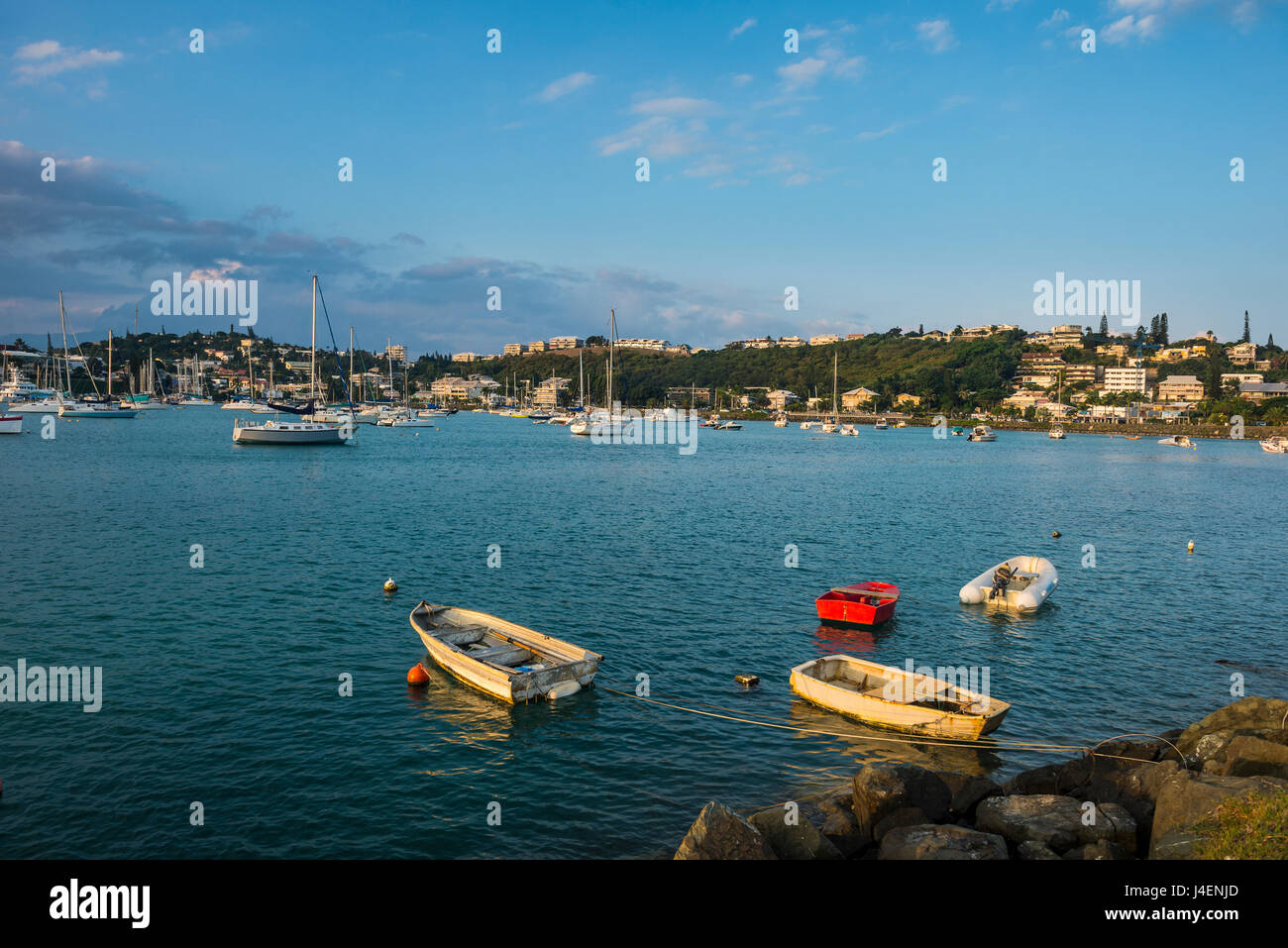 Little boats in the Magenta Port Sud, bay, Noumea, New Caledonia, Pacific Stock Photo