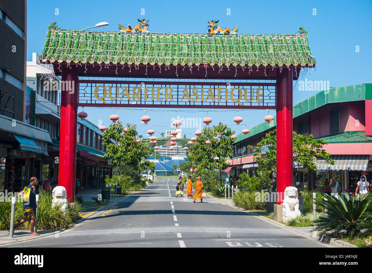Entrance to the Chinese Quarter, Noumea, New Caledonia, Pacific - Stock Image