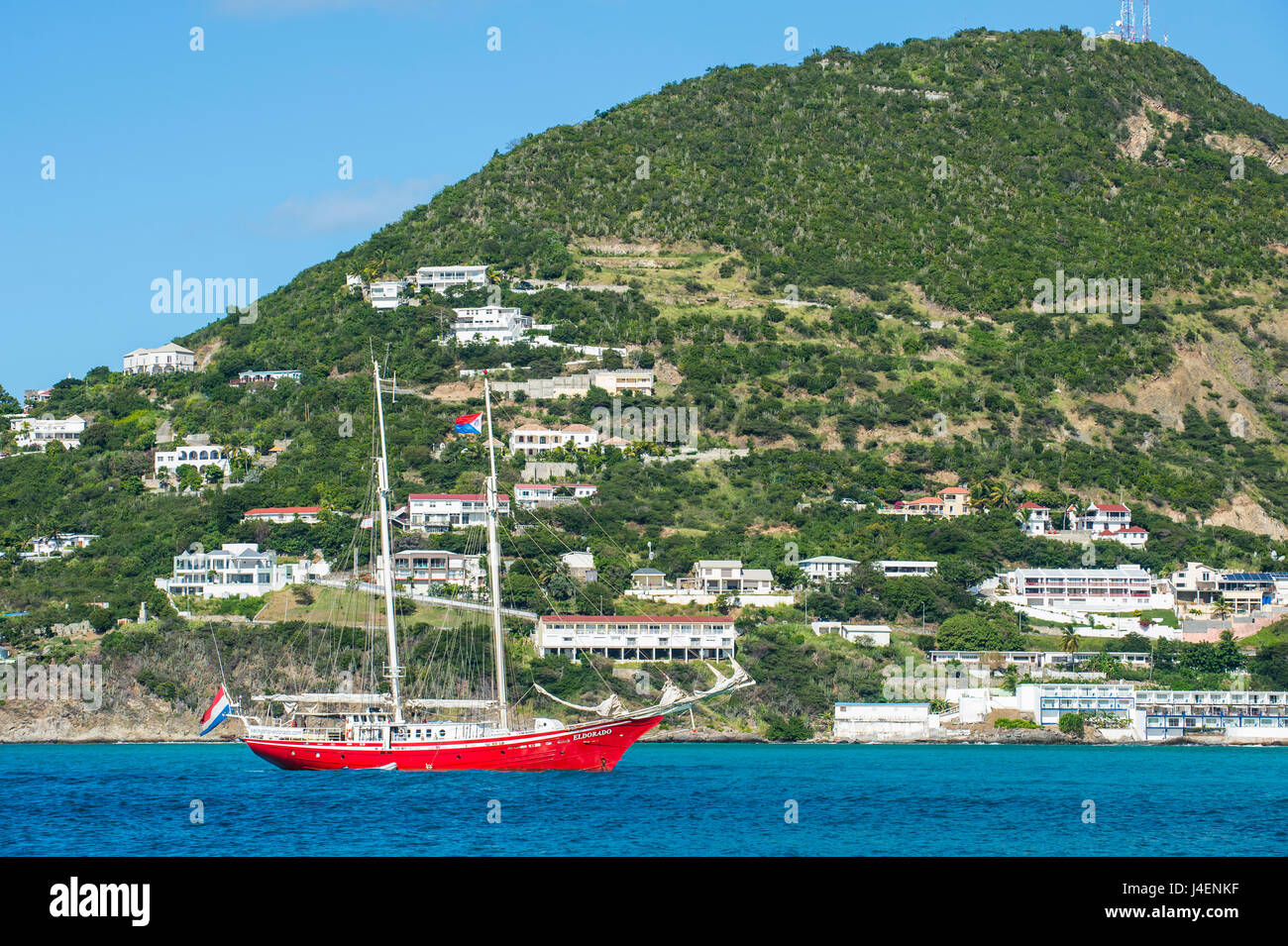 Red sailing boat in the bay of Philipsburg, Sint Maarten, West Indies, Caribbean, Central America - Stock Image