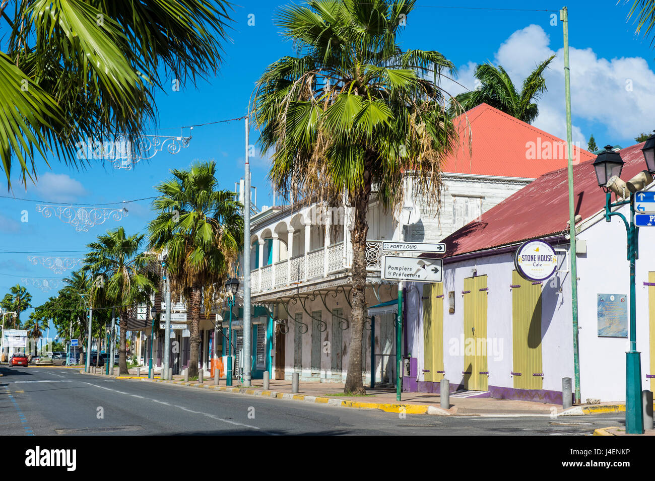 Colonial architecture in Marigot, St. Martin, French territory, West Indies, Caribbean, Central America - Stock Image