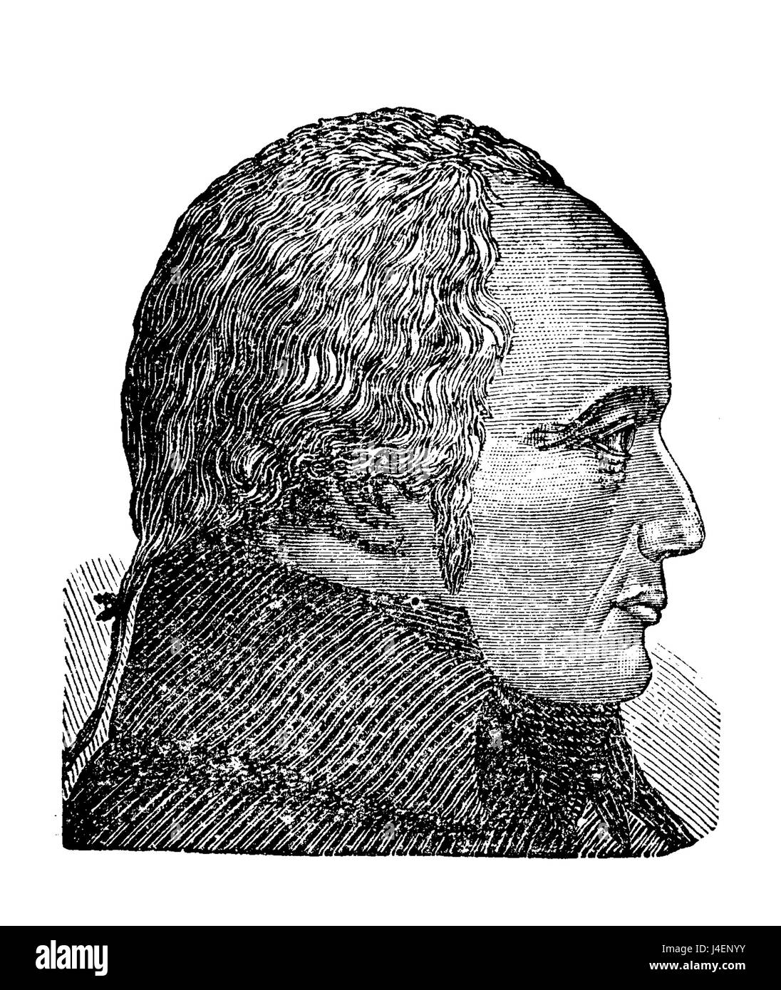 Franz Joseph Gall founder of phrenology, a pseudoscience about the brain localization of mental functions, vintage - Stock Image