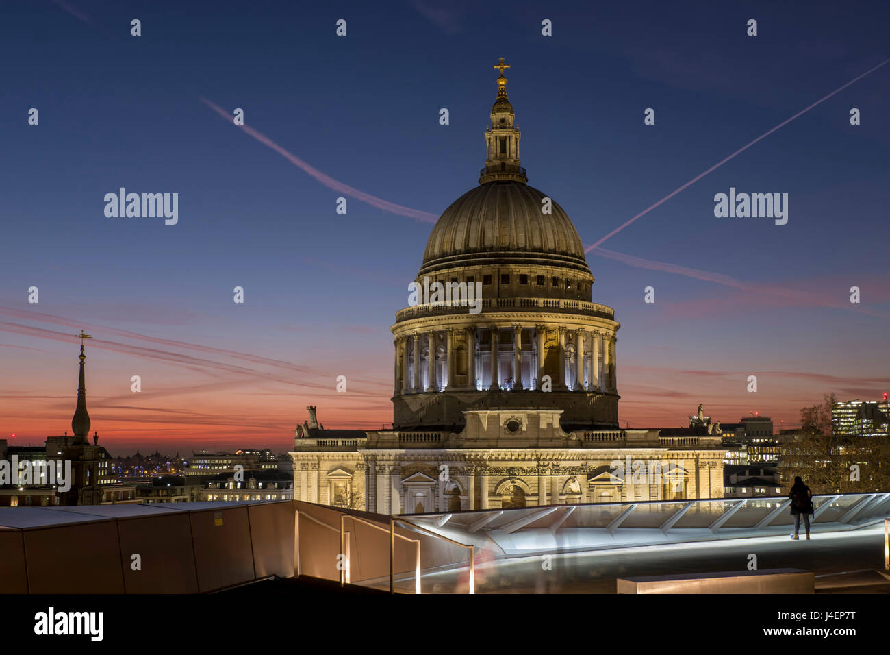 Dome of St. Pauls Cathedral from One New Change shopping mall, London, England, United Kingdom, Europe - Stock Image