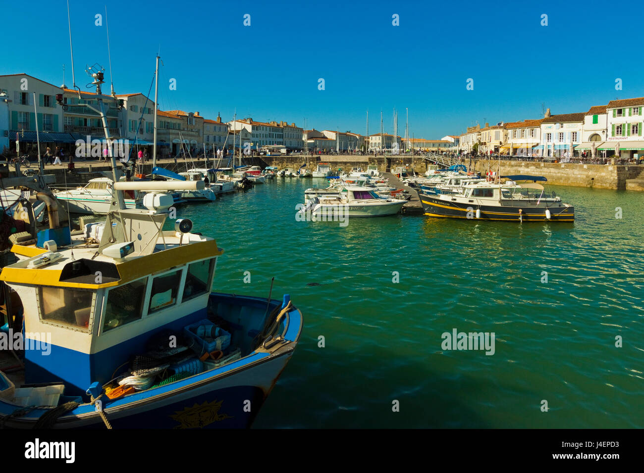 Fishing boats and yachts in the quays at this north coast town, Saint Martin de Re, Ile de Re, Charente-Maritime, - Stock Image