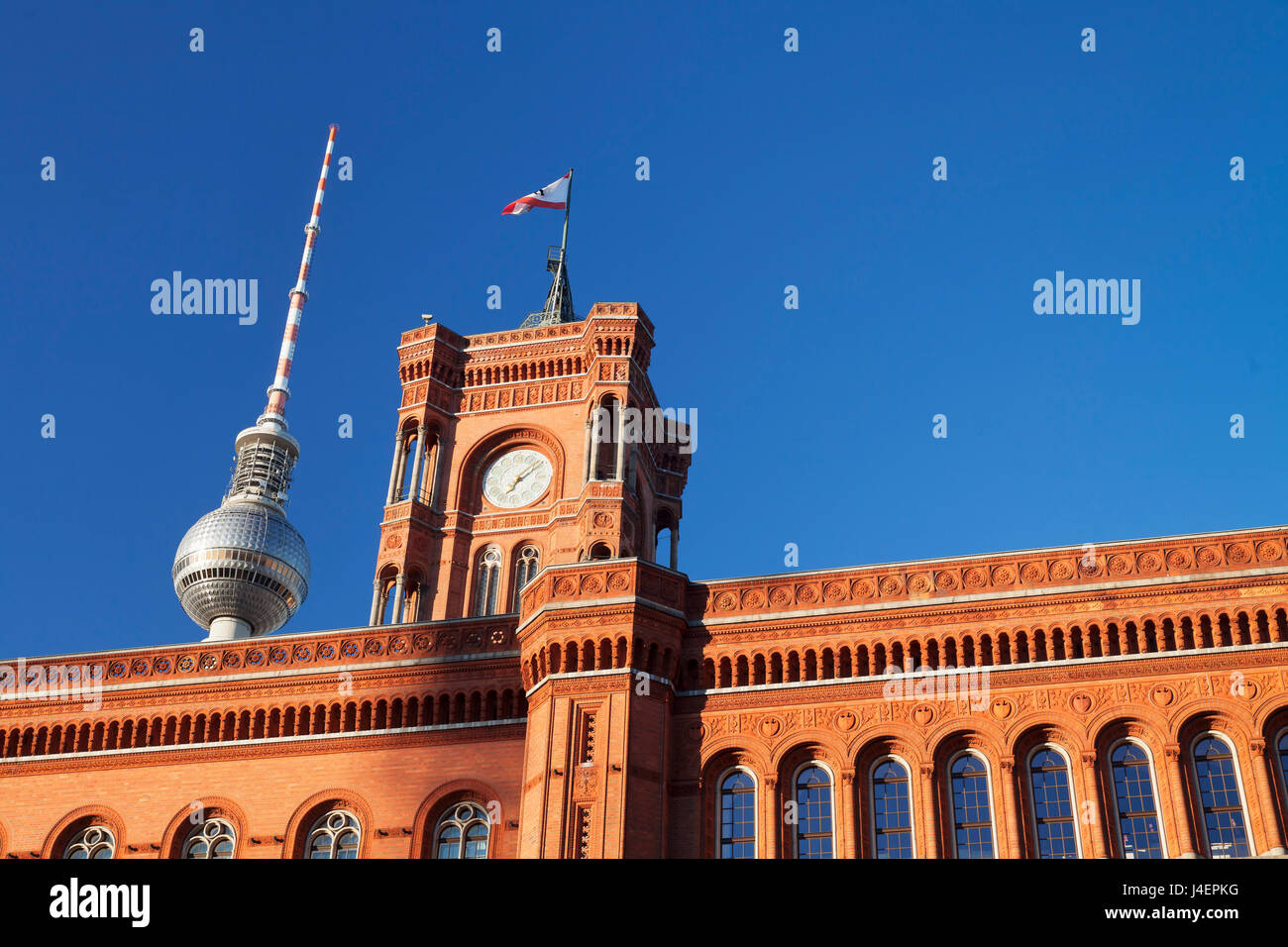 Rotes Rathaus (Red Town Hall), Berliner Fernsehturm TV Tower, Berlin Mitte, Berlin, Germany, Europe - Stock Image