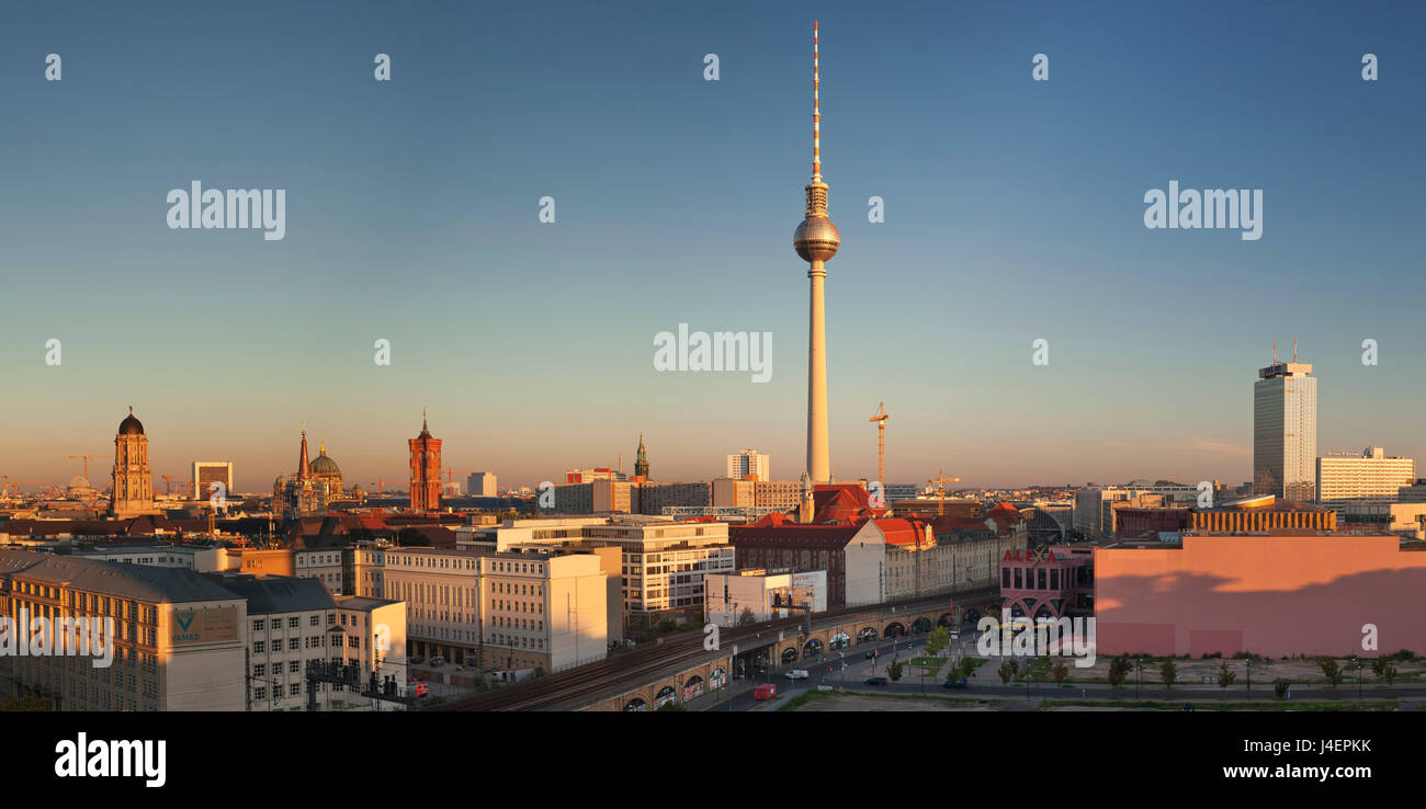 View over Alexanderstrasse to TV Tower, Rotes Rathaus (Red Town Hall), Hotel Park Inn and Alexa shopping center, - Stock Image