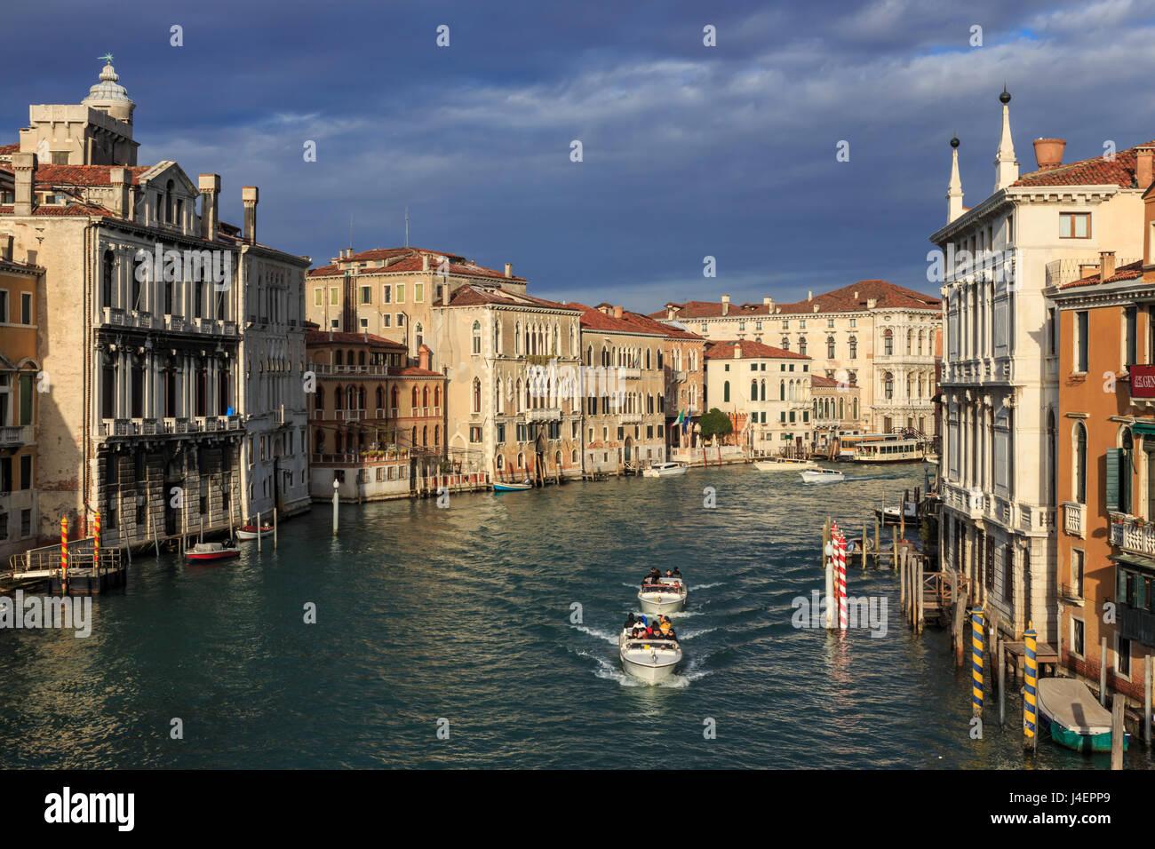 Grand Canal from Accademia bridge in winter morning sun, Venice, UNESCO World Heritage Site, Veneto, Italy, Europe Stock Photo
