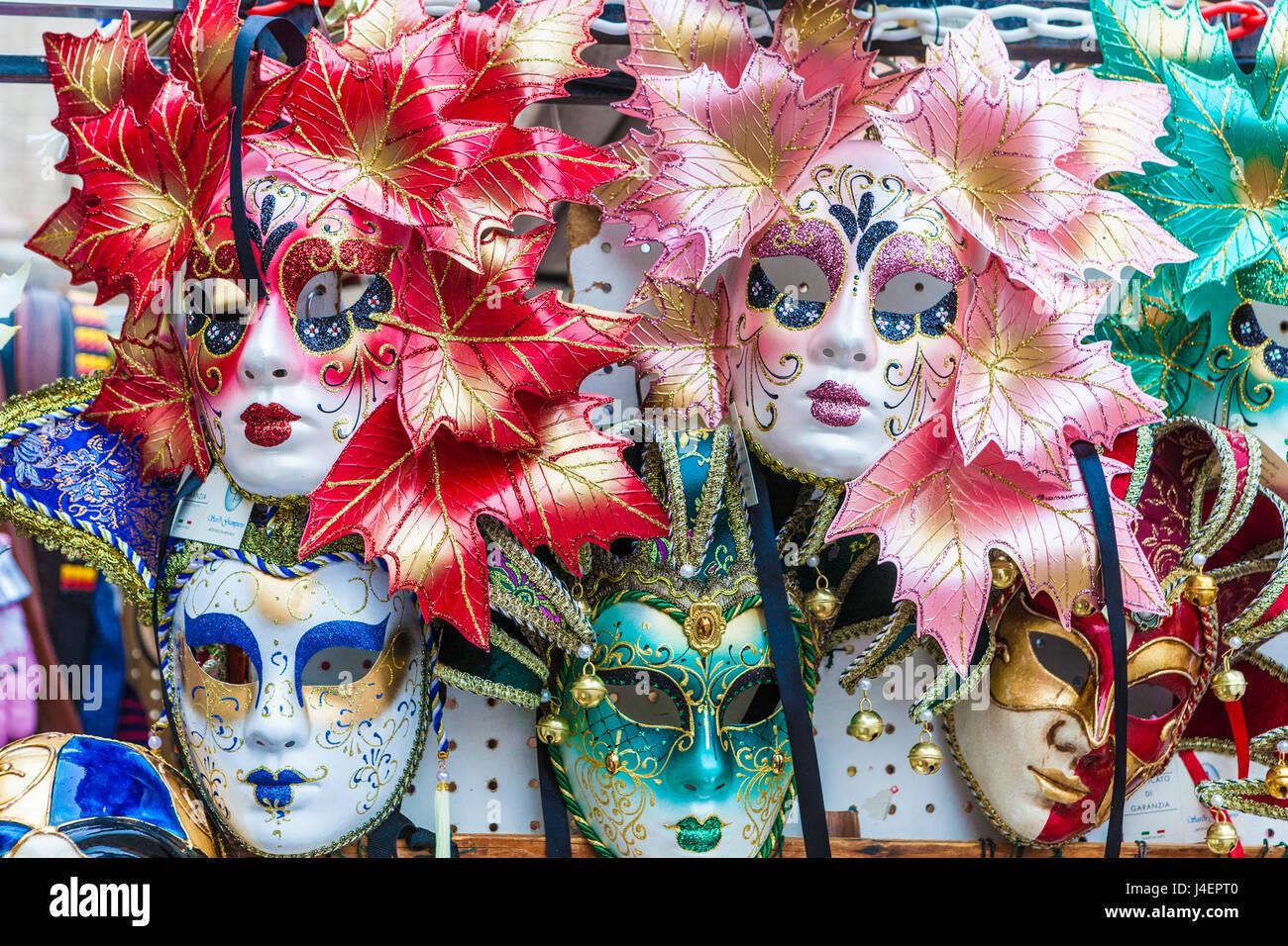 Colourful masks of the Carnival of Venice, famous festival worldwide, Venice, Veneto, Italy, Europe - Stock Image