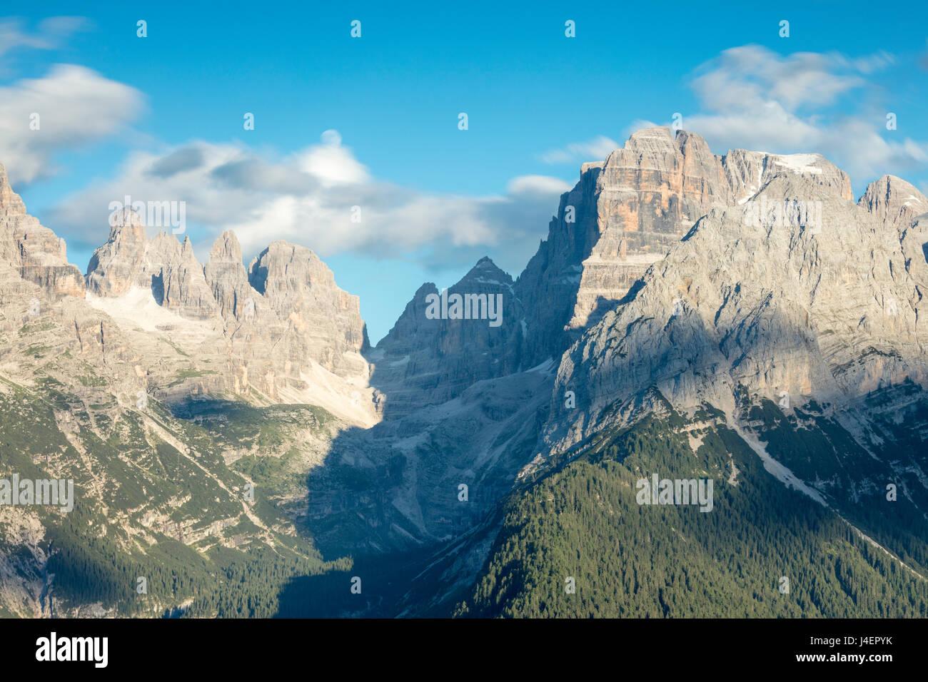 View of the high rocky peaks from Malga Ritorto, Madonna di Campiglio, Brenta Dolomites, Trentino-Alto Adige, Italy, - Stock Image