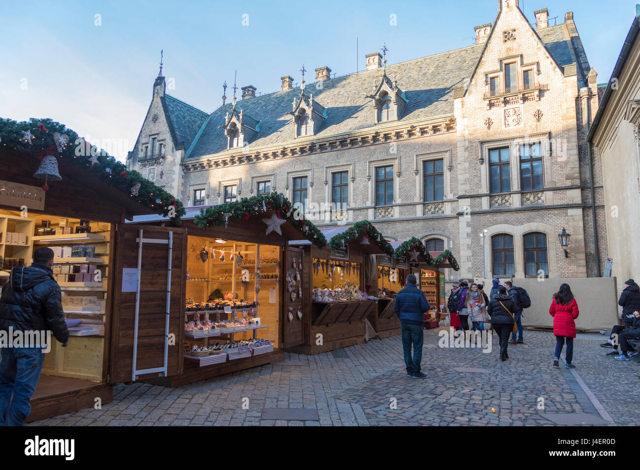 Tourists at the Christmas markets, Prague, Czech Republic, Europe - Stock Image