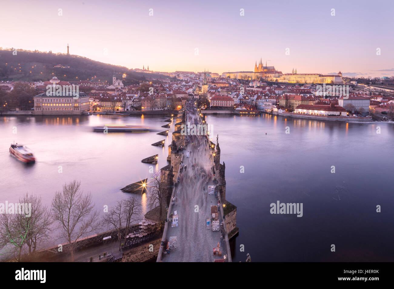 Vltava River and Charles Bridge at sunset, UNESCO World Heritage Site, Prague, Czech Republic, Europe - Stock Image